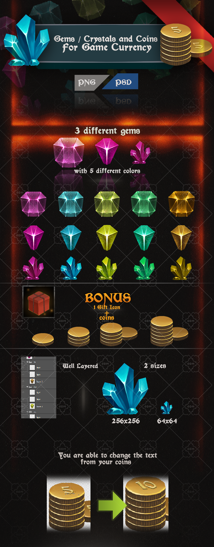 Gems / Crystals and Coins for Game Currency