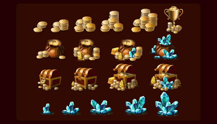 Coins and crystals Icon Pack HD