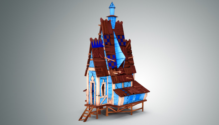 Low Poly Stylized Wooden House