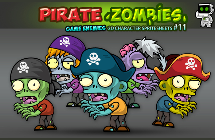 Pirate Zombies 2D Game Character Sprites 11