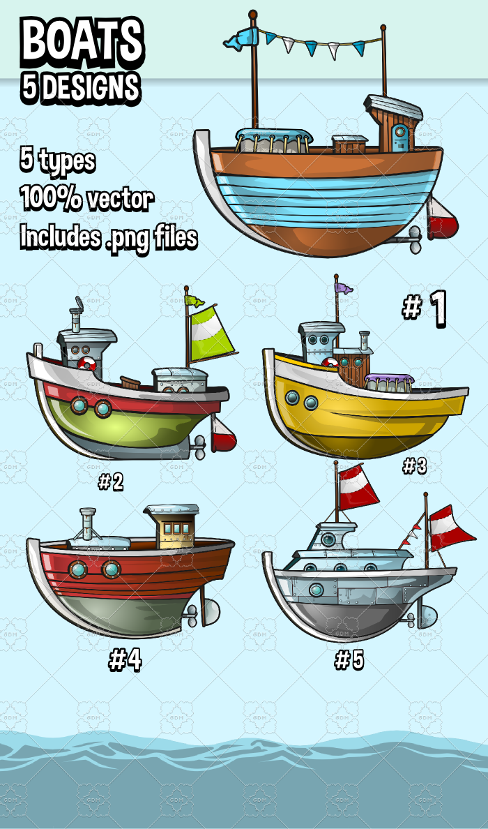 Five boat designs
