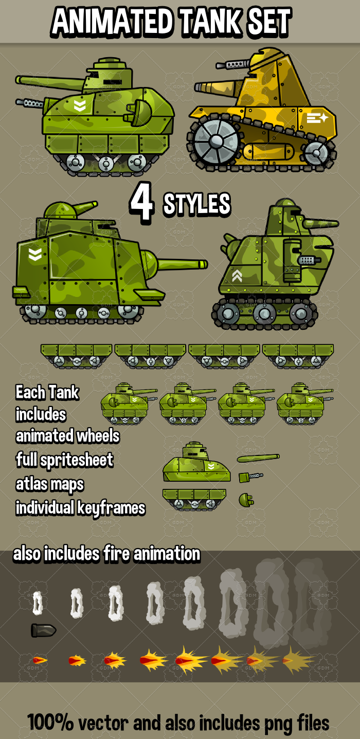 Animated tank pack