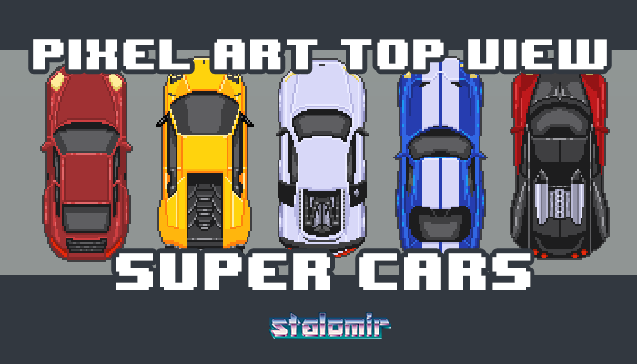Pixel Art Top View Super Cars