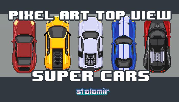 Pixel Art Top View Super Cars
