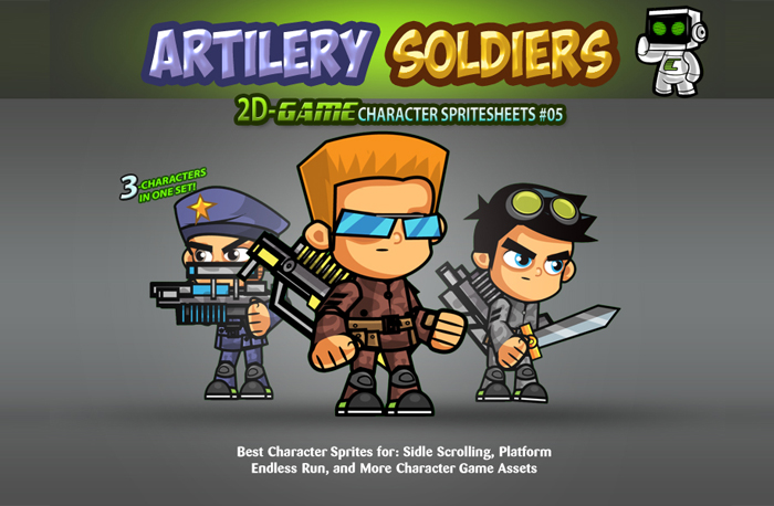 Artillery Soldiers Game Character SpriteSheets 05