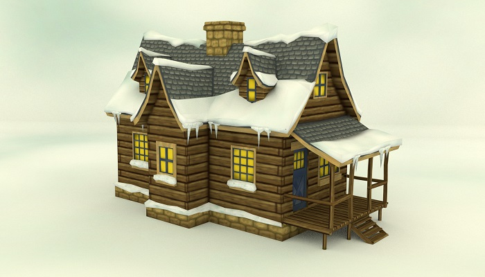Low Poly Winter House