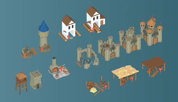 Low Poly Medieval Buildings Set