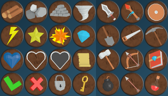 Low Poly Art Icons Set