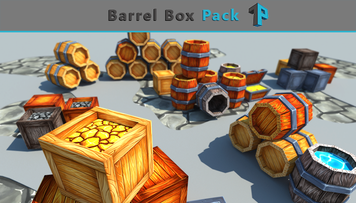 Low Poly Barrel-Box Pack