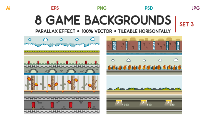 8 Game Backgrounds Set 3