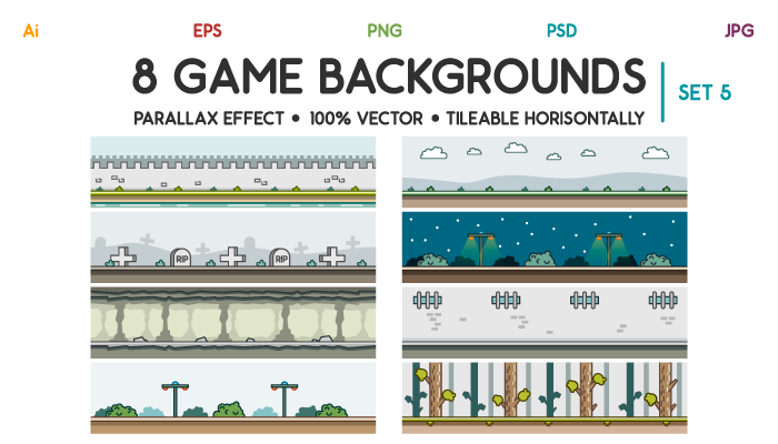 8 Game Backgrounds Set 5