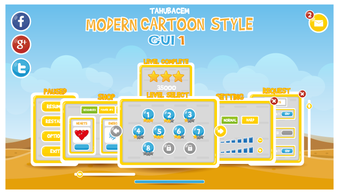Modern Cartoon Style GUI 1
