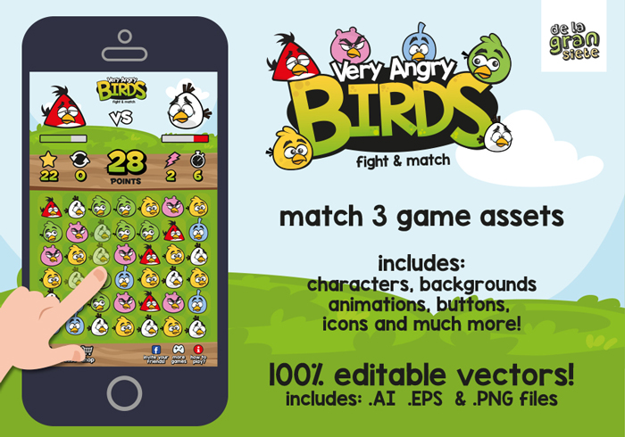 Very Angry Birds Match 3 Graphic Assets