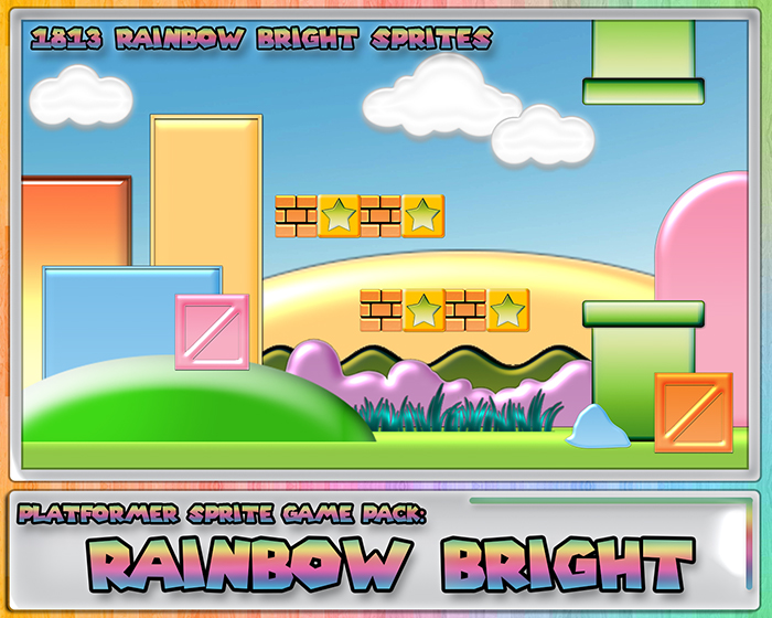Platformer Sprite Game Pack: Rainbow Bright