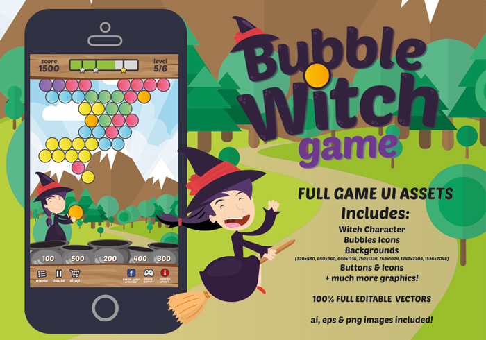 Bubble Witch Game Graphic Assets
