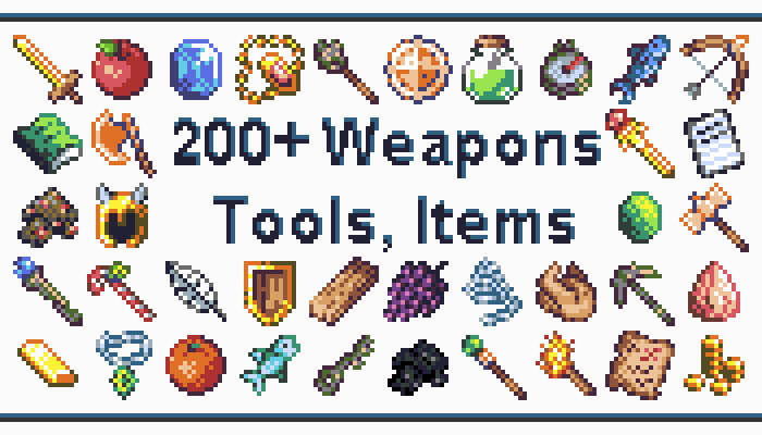 Weapons and Items – 16×16 Sprites