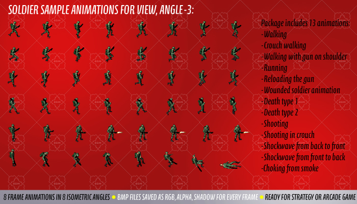 soldier sprite animations isometric