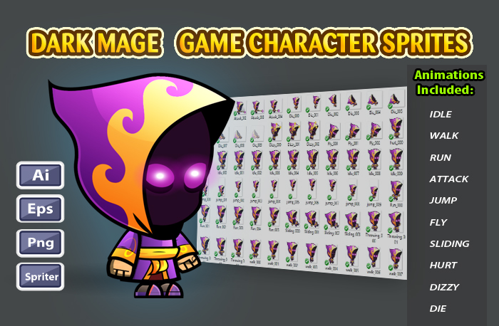 Dark Mage 2D Game Character sprites 23