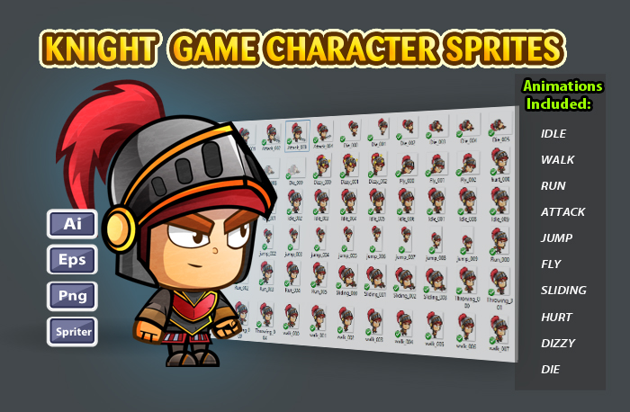Knight 2D Game Character Sprites 25