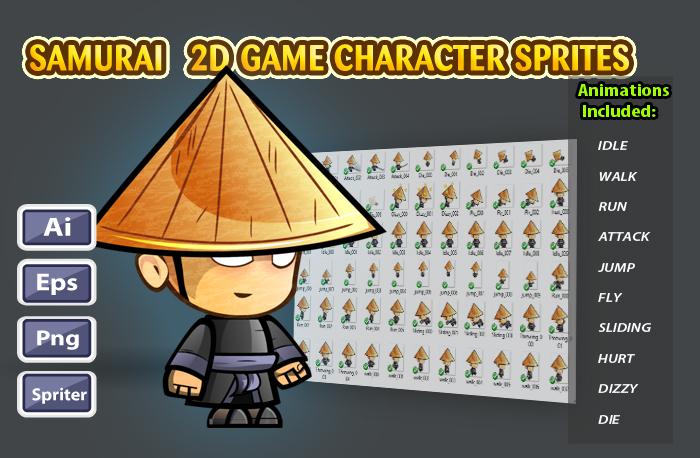 Samurai 2D Game Character Sprites 26