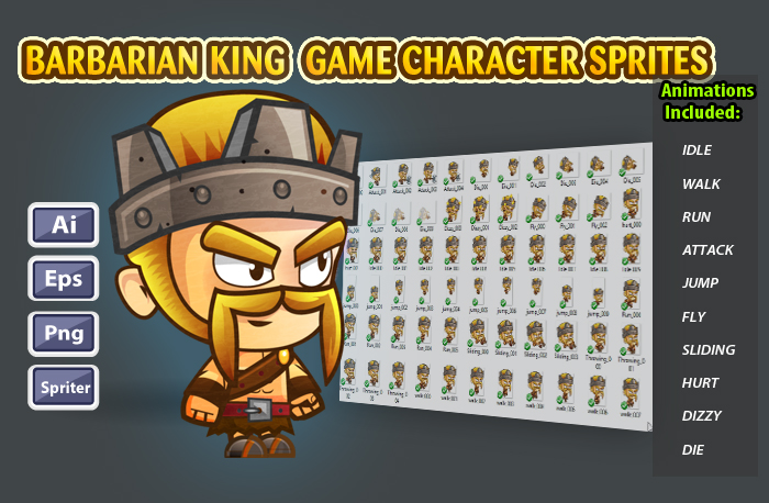 Barbarian King 2D Game Character Sprites 24