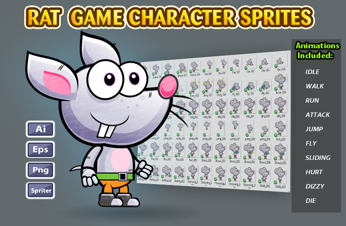 Rat 2D Game Character Sprites 21
