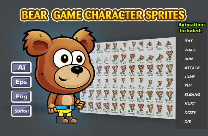 Bear 2D Game Character Sprites 22