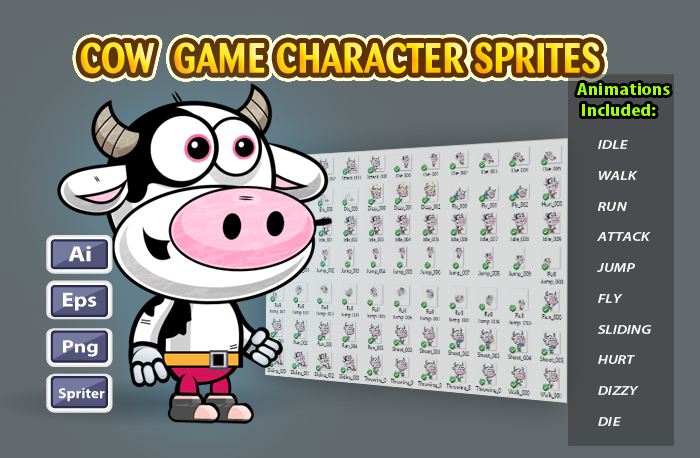 Cow 2D Game Character Sprites 18