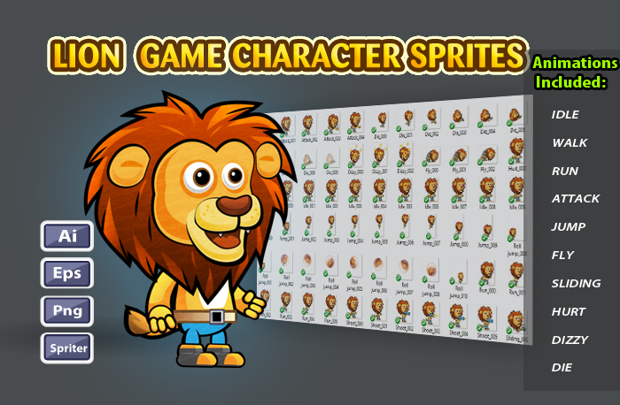 Lion 2D Game Character Sprites 15