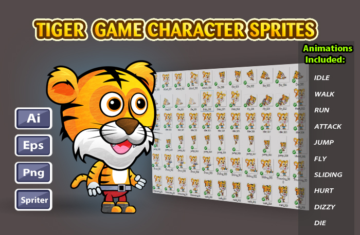 Tiger 2D Game Character Sprites 13