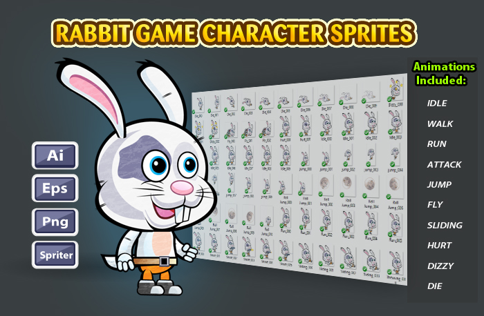 Rabbit 2D Game Character Sprites 14