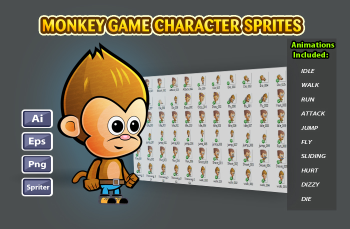 Monkey 2D Game Character Sprites 11