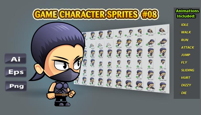 Girl Ninja Character Sprites 08