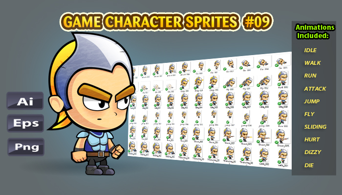 Warrior 2D Game Character Sprites 09