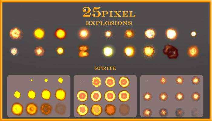 25 pixel explosions