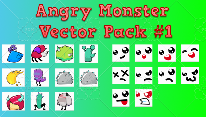 Angry Monster Vector Pack 1