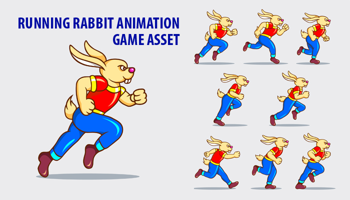 Running Rabbit Game Sprite
