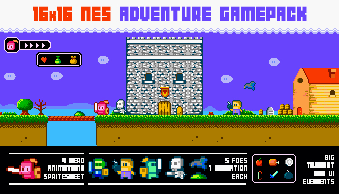 16×16 Nes adventure gamepack