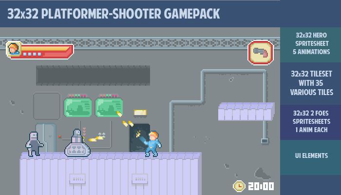32×32 Sci-fi platformer-shooter gamepack