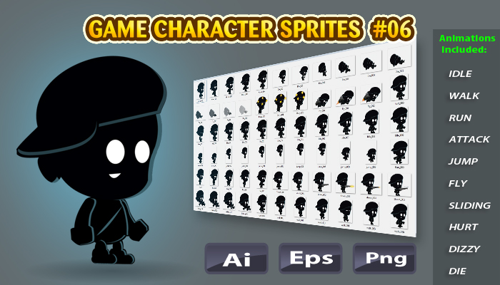 Shadow Boy 2D Game Character Sprites 06