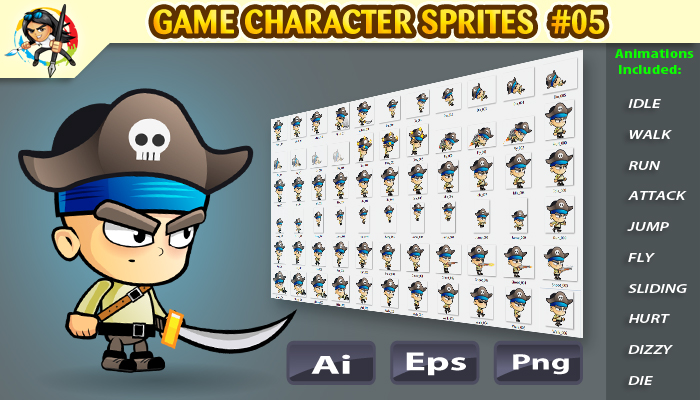 Pirate 2D Game Character sprites 05