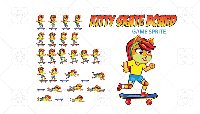Kitty Skate Board Game sprite