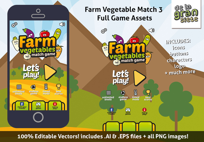 Farm Vegetables Match 3 Game Assets