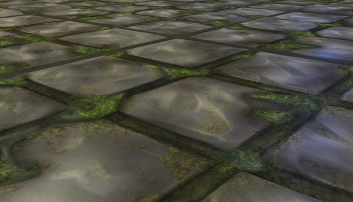Moss-grown cobbled tile