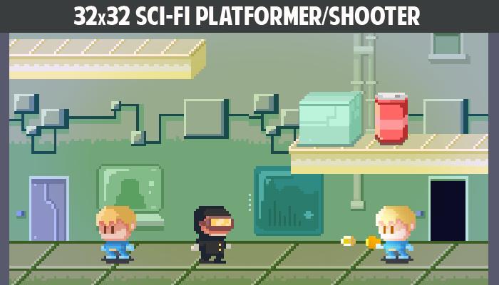 32×32 Sci-fi platformer/shooter gamepack