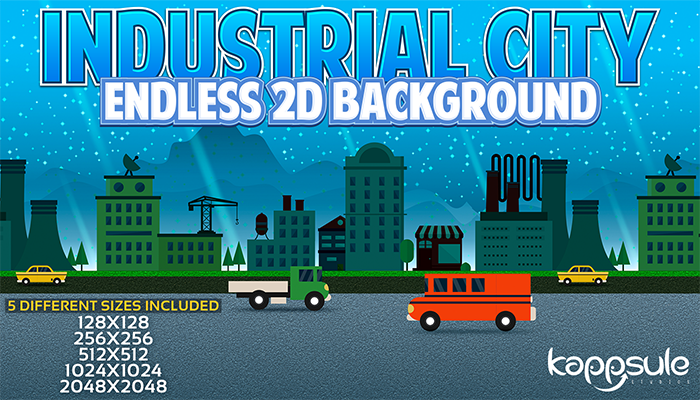 Industrial City Endless 2D Background