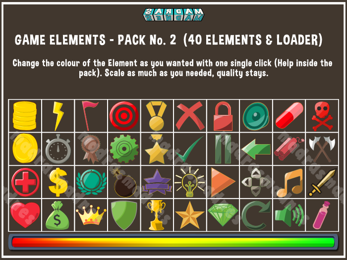 GAME ELEMENTS – PACK No. 2 – 40 ELEMENTS and LOADER
