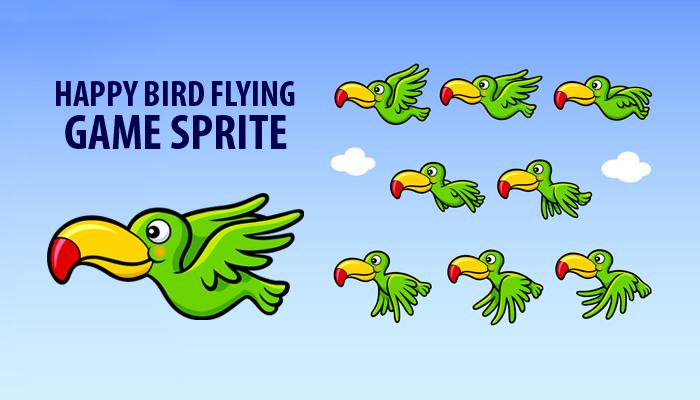 Happy Bird Flying Game Sprite