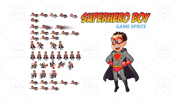 Superhero Boy Game Sprite