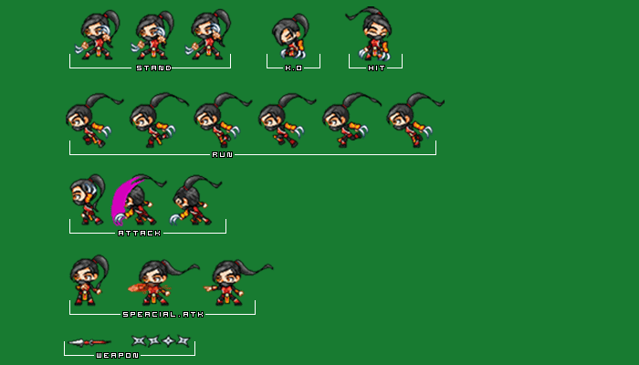 Female Ninja Animation Sprite